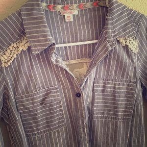 Button down blouse with lace detail